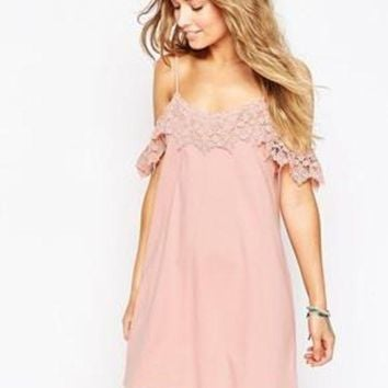 DCCKVQ8 Solid Color Fashion Strap Backless Lace Stitching Strapless Short Sleeve Mini Dress