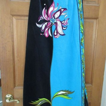 Vintage 60s EMILIO PUCCI Authentic Velvet Maxi Skirt Floor Length Hot Colors