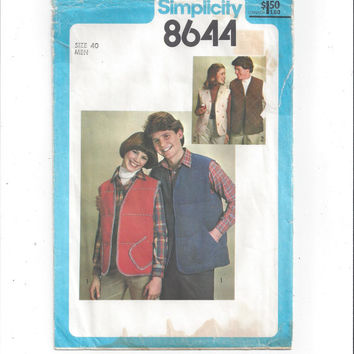 Simplicity 8644 Pattern for Men's Lined Quilted Vest, Size Men's 40, From 1978, FACTORY FOLDED, UNCUT, Vintage Pattern, Home Sewing Pattern