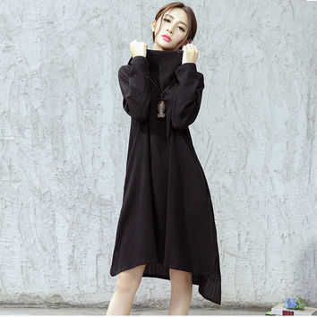 Johnature Women Cotton Linen Dress Hooded 2017 Autumn Casual Vintage Plus Size Women Clothes Loose Brief Irregular Sweep Dress