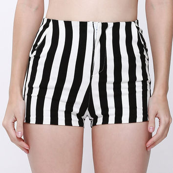 Striped High-Waist Shorts
