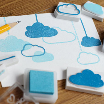 cloud rubber stamp, bubble cloud stamp, hand carved rubber stamp set, rubber stamp, hanging baby toy stamp, postcard stamp, holiday idea
