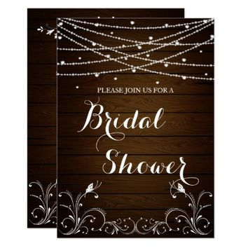 Rustic String Lights Hearts Country Bridal Shower Card