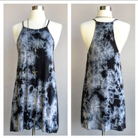 A Tie Dye Halter Cut Tee Dress