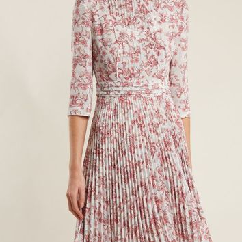 Floral-print pintucked and pleated crepe dress | Prada | MATCHESFASHION.COM US