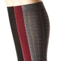 Nine West Women's Textured and Solid Flat Knit 3 Pair Pack Knee High Sock