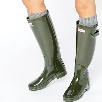 Hunter Original Refined Gloss Dark Olive Tall Wellington Boots at asos.com