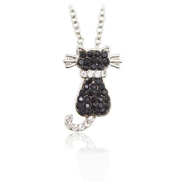 Black Rhinestone Cute Animal Pendant Necklace Panda Dog Puppy Cat Kitten Monkey Frog Penguin Special Gift Dog Lovers Pet Jewelry