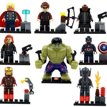 8pcs Marvel Super Heroes Avengers Iron Man Captain America Hulk Thor Black Widow Hawkeye Ultron figure Toy Compatible with sy271