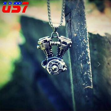 US7 Punk Gothic Steampunk Engine Motorcycle Pendants Necklaces Biker Titanium Stainless Steel Necklace for Men Jewelry