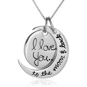 """I Love you to the Moon and Back"" Silver Plated Pendant Necklace"