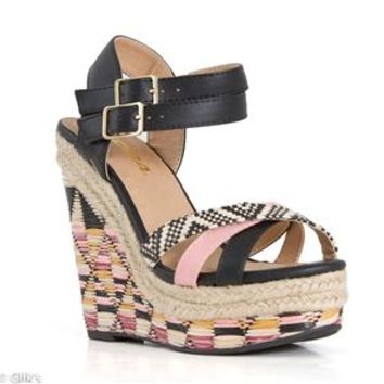 Soda Shoes Vianca Espadrille Basket Weave Wedges VIANCA-S-BLK