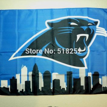 Carolina Panthers Skyline Flag 3x5 FT 150X90CM NFL Banner 100D Polyester Custom flag grommets 6038, free shipping