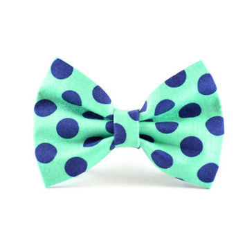 Turquoise Dog Bow Tie - Teal Aqua and Navy Blue Polkadot Detachable Dog and Cat Bow Tie