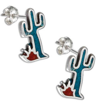 Sterling Turquoise Cactus Post Earrings