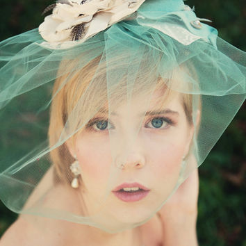 Mint birdcage veil birdcage veil wedding blusher veil wedding veil mint veil vintage blusher wedding headpiece bridal headpiece