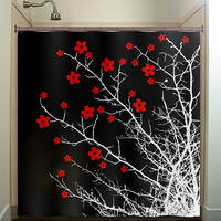 floral branch flower cherry blossom tree shower curtain bathroom decor fabric kids bath white black custom duvet cover rug mat window