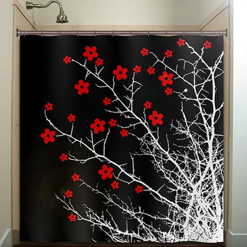 Floral Branch Flower Cherry Blossom Tree Shower Curtain Bathroom Decor Fabric Kids Bath White Black Custom