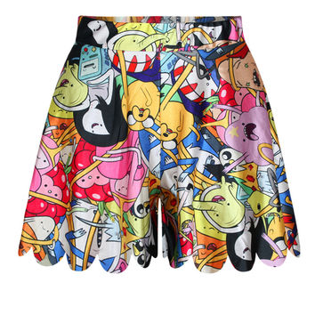 Casual 3D Emoji Printed High Waist Shorts Pleated Culottes