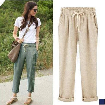 Cotton Rolled Cuff Drawstring Pants