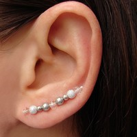 Ear Pins - Swarovski Silver Gray Pe.. on Luulla