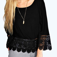 Black Lace Hem Long Sleeve Blouse