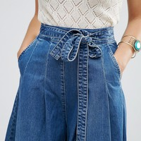 ASOS Denim Super Wide leg Jeans with Tie Waist in Mid Wash Blue