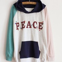 Hooded Spell Color Letter Sweatshirt White$42.00