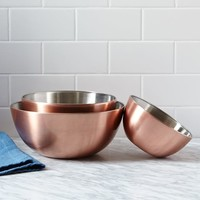 Copper Plated Mixing Bowls (Set of 3)