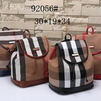"""Burberry"" Women Casual Multicolor Stripe Backpack Double Shoulder Bag"