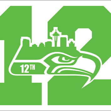 2 PACK of Seattle Seahawks 12 Man NUMBER Vinyl Decals