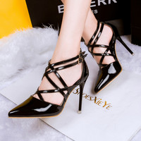 Stylish, with pointed, crossed, buttoned, Rome high heels