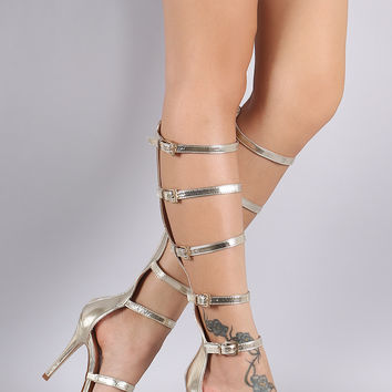 Strappy Buckled Open Toe Gladiator Heel