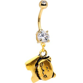 Handmade Clear Gem Gold Tone Anodized Quirky Kitty Dangle Belly Ring