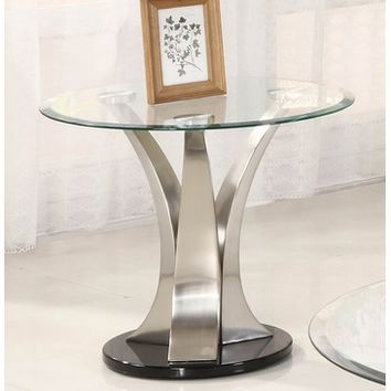 Homelegance Charlaine Round Glass End Table on Chrome Pillars