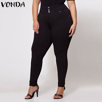 Women's Plus Size Black Pencil Pants