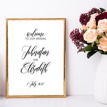 Elegant wedding welcome sign, Printable welcome sign for wedding, Large custom welcome sign, Personalized chic wedding ceremony decorations