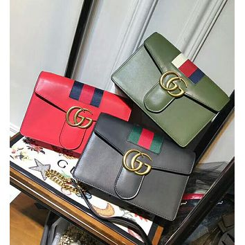 Gucci Popular Shopping Women Simple GG Letter Stripe Leather Metal Chain Buckle Crossbody Satchel Shoulder Bag I-AGG-CZDL