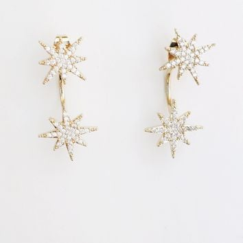 Pave Small Starburst Front/Back Earrings
