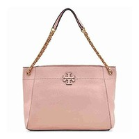 Tory Burch McGraw Slouchy Leather Tote - Pink Quartz