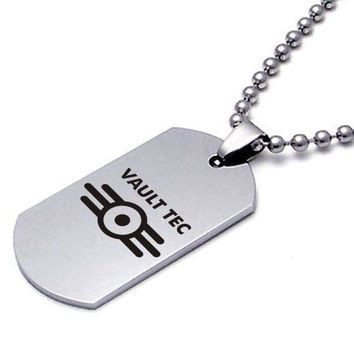 Fallout Vault Tec Dog Tag Video Game Necklace Pendant US Army