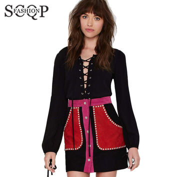 SCQP Patchwork Rivet Skater Skirt Women Pockets Suede Summer Woman Skirt Fashionable Spring 2015 Branded New Club Womens Skirts