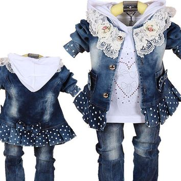 Trendy Baby Girls Suit 2017 Spring Casual Children's Clothing Sets Cowboy Jacket+T-shirt+Pants Kids Suit Sets Infant Baby Girl Clothes AT_94_13