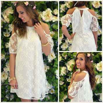 Trotwood Off White Open Shoulder Lace Dress