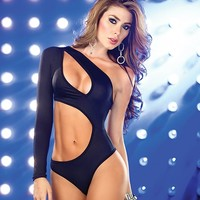 Black Cross Band Bodysuit