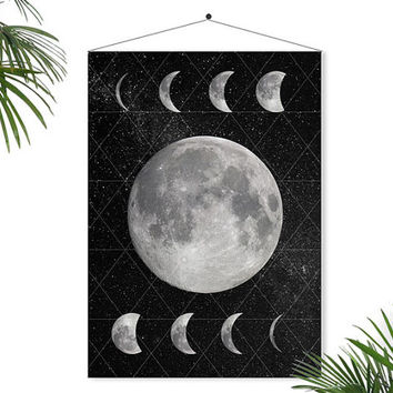 Moon Phase art Moon print Full Moon Poster Geometric Art Galaxy Space art Stars Geometric Decor Astronomy Science Home Decor Dreamy lunar