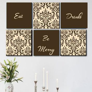 Eat Drink & Be Merry Brown & Cream Damask Wall Art Pack of 6 Canvas Wall Hangings