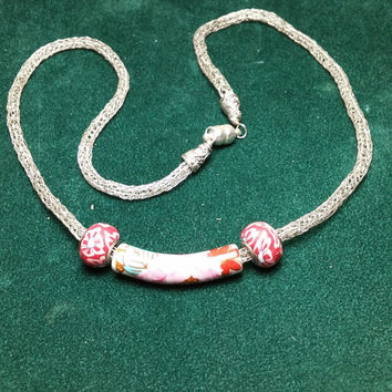 Beaded Viking Knit Silver Necklace