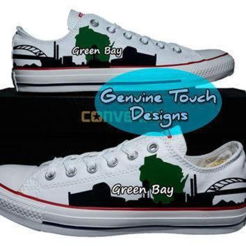 LMFON hand painted converse green bay skyline wisconsin custom converse birthday gifts