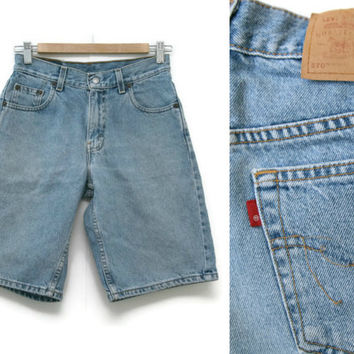 Vintage Unisex Levi Shorts~Size Small to Medium/Waist 27~80s 90s High Waisted Denim Jean Mens Womens~By Levi's